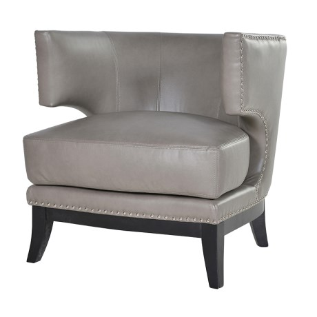 Grey Leather Studded Armchair