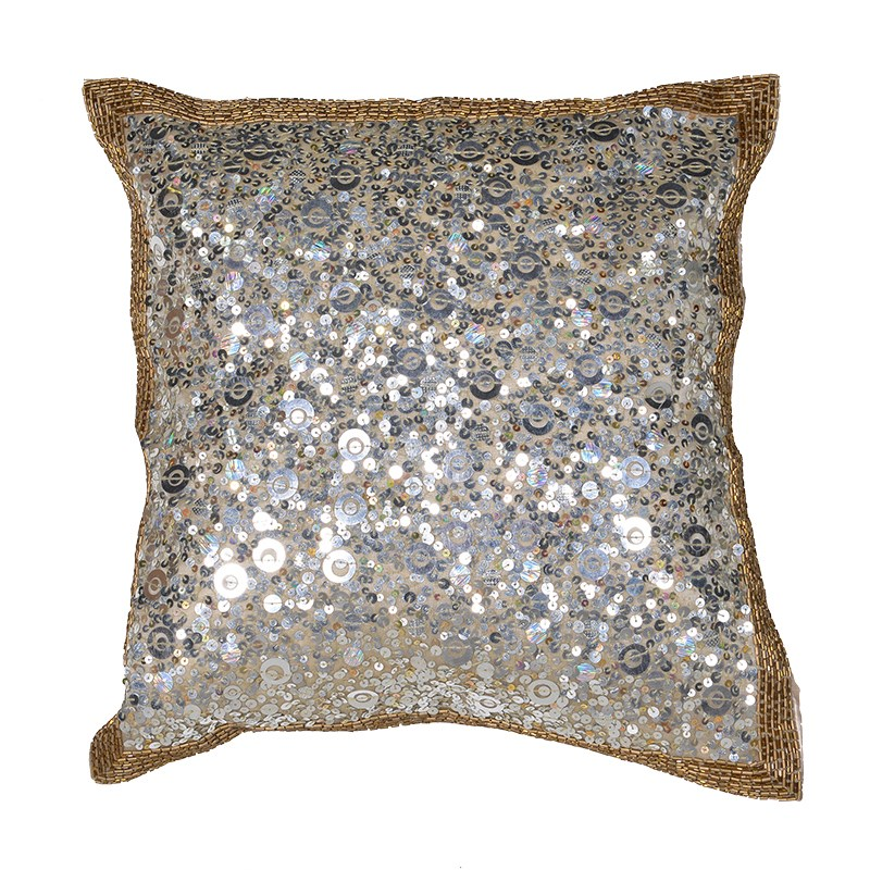 Gold And Silver Sequins Cushion