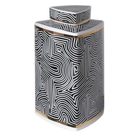 Small Black And White Op-Art Tri-Jar