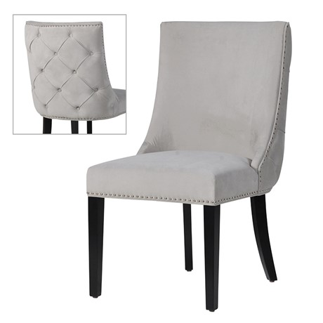 Grey Studded Button Back Chair