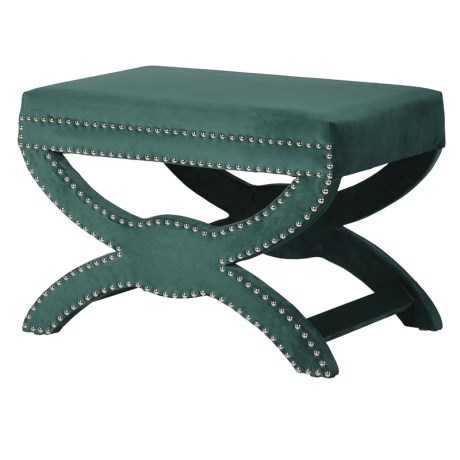 Emerald Green Velvet Footstool