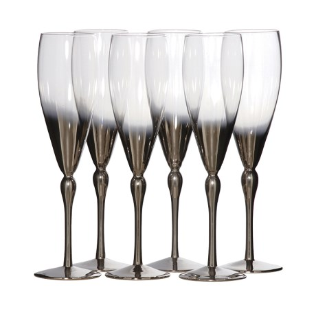 Silver Plated Glass Flutes X6