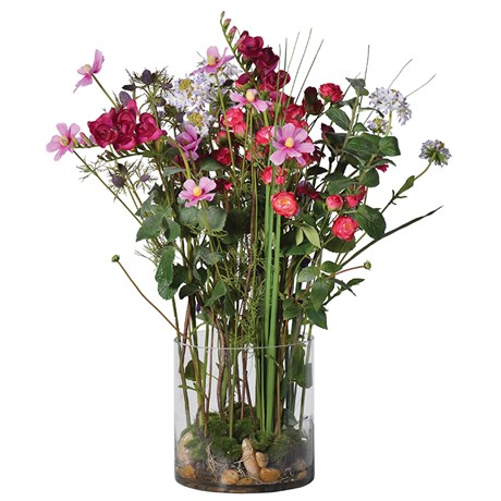 Mixed Garden Flowers In Cylindrical Glass Vase