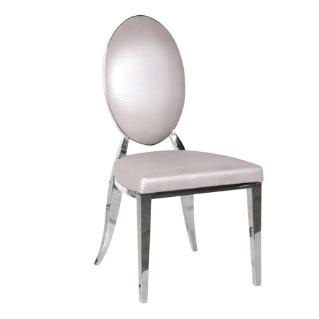 Pearl Oval Back Snakeskin Effect Dining Chair