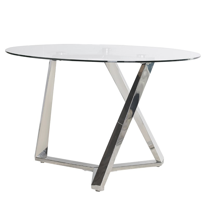 Serano Glass Dining Table With Steel Legs