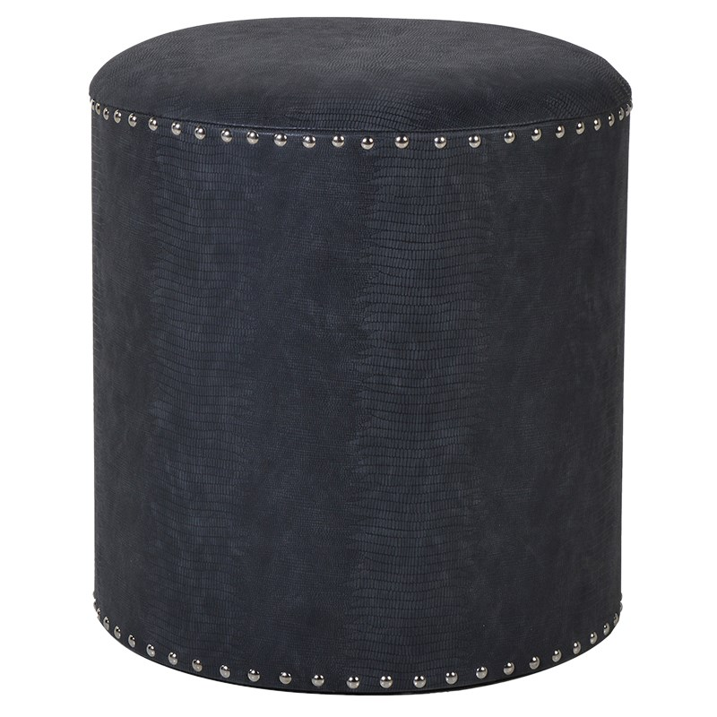 Studded Black Foot Stool