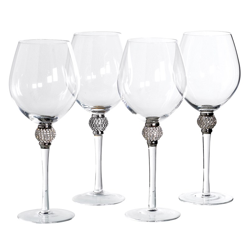 Set Of 4 Diamante Red Wine Glasses