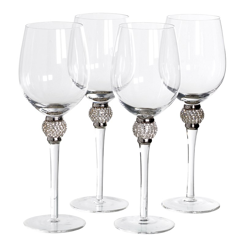 Set Of 4 Silver Diamante White Wine Glasses