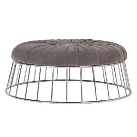 Mouse Grey Round Ottoman