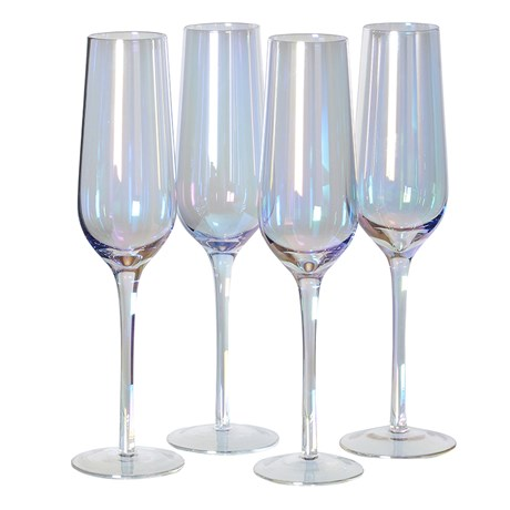 Iridescent Champagne Glass X4