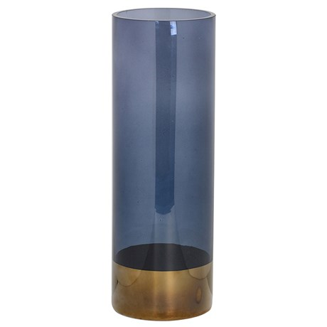 Grey Glass Gold Top Vase