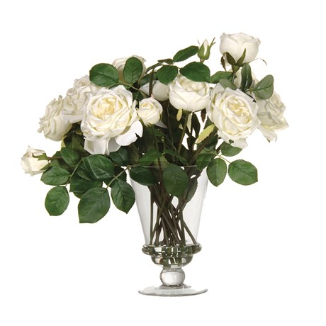 White Rose Arrangement In Glass Vase
