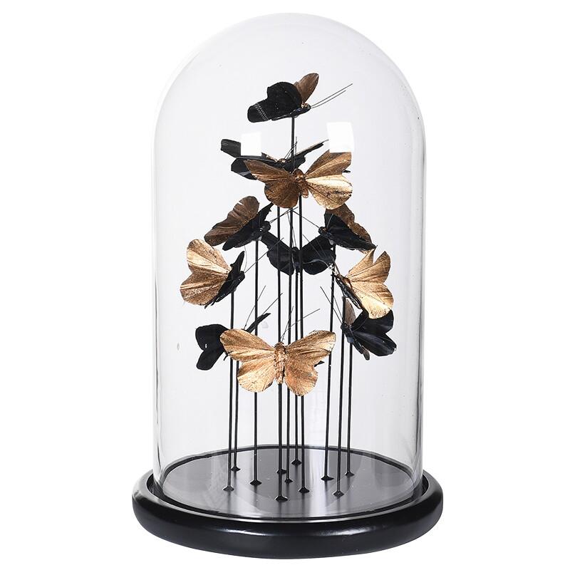 Gold, Glass Dome Butterflies