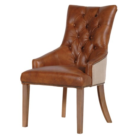 Tan Leather Dining Chair With Buttoned Detail