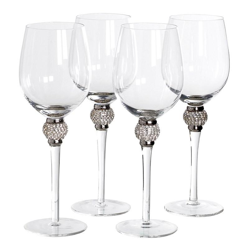 Set Of 4 Silver Diamante White Wine Glasses