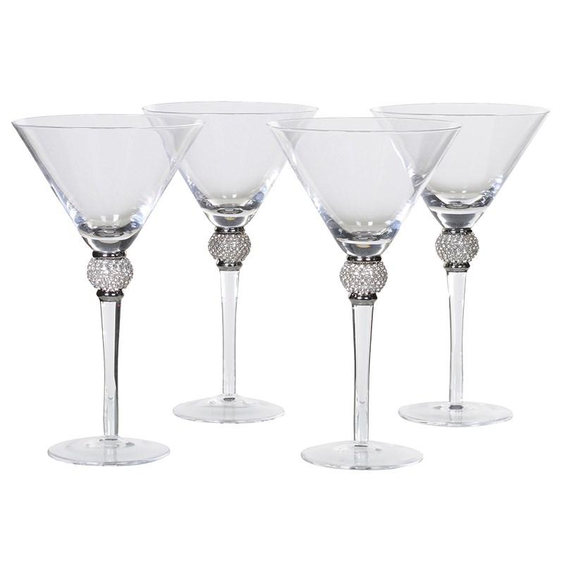 Set Of 4 Silver Diamante Martini Glasses