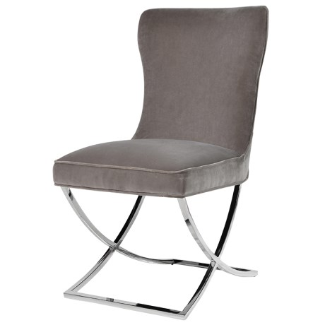 Grey Dining Chair With Buttoned Detail