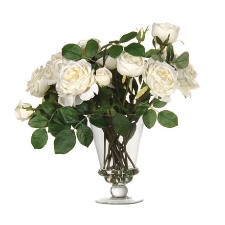 White Rose Arrangement In Glass Vase