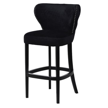 Buttoned Detail Velvet Bar Stool