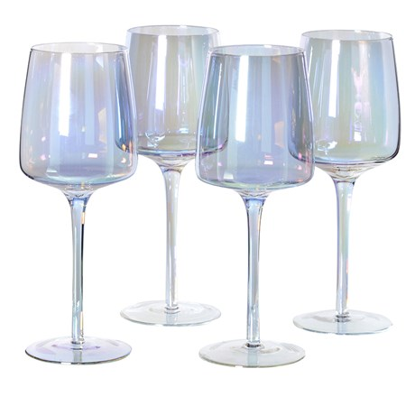 Iridescent White Wine Glass X4