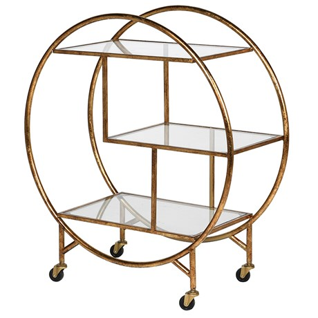 Gold Glass Bar Trolley